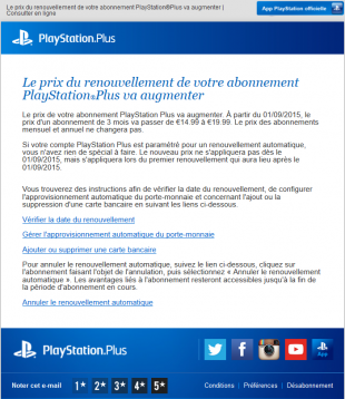 PlayStation Plus Augmentation abonnement