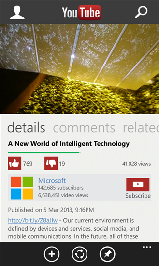 Youtube Windows Phone app 5