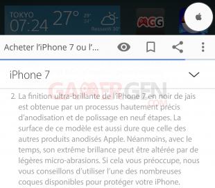 Apple mise en garde coloris rayures