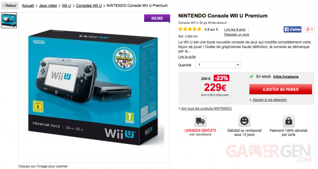 Auchan offre promotion Wii U 229 euros