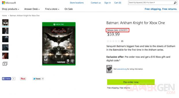 Batman Arkham Knight date de sortie Microsoft store