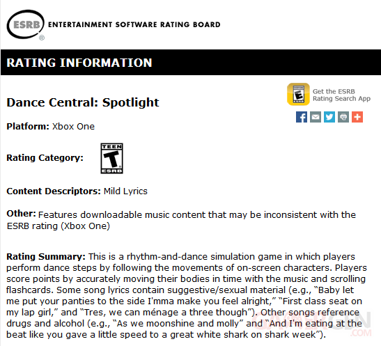 Dance central spotlight ERSB