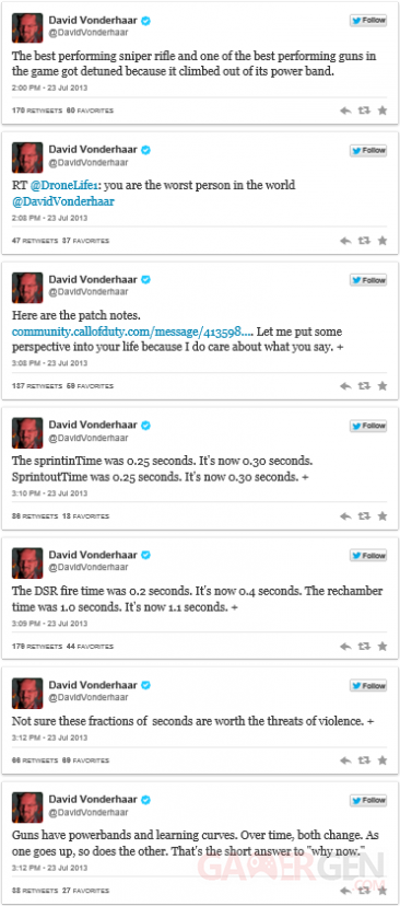 David Vonderhaar twitter reponse menace call of duty black ops 2