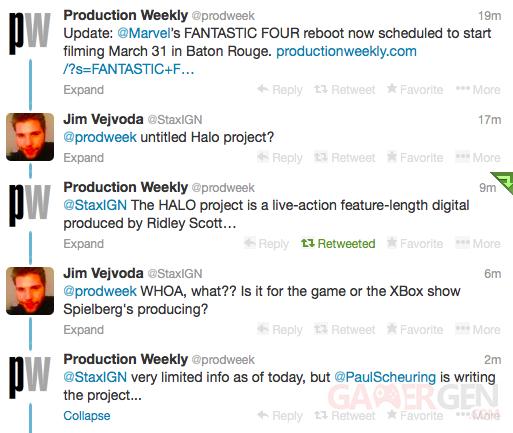 Film Halo Ridley Scott projet rumeur