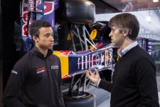 Jann Mardenborough chats to Andy Damerum of Infiniti Red Bull Racing