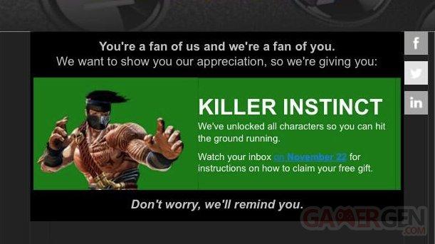 Killer Instinct offert xbox one microsoft