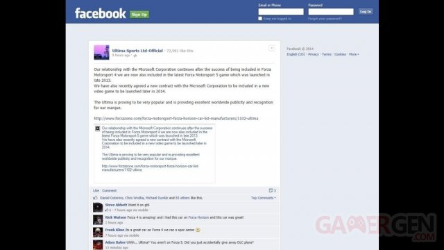 leak forza horizon facebook ultima sports