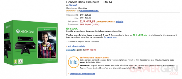 pack promo xbox one fifa 14 amazon