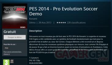 Pro Evolution Soccer PES 2014 Demo PSN en avance PC