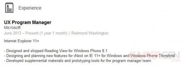 windows phone threshold cv linkedin