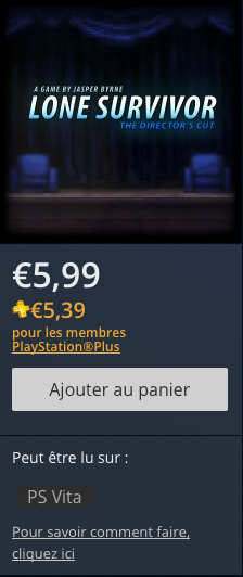 PlayStation Store promo Lone Survivor