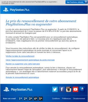 PlayStation Plus Augmentation abonnement