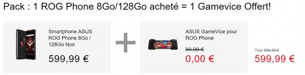 Promo ROG Phone et Asus Gamevice offerte 128 Go