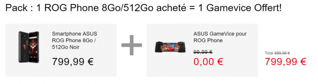 Promo ROG Phone et Asus Gamevice offerte 512 Go