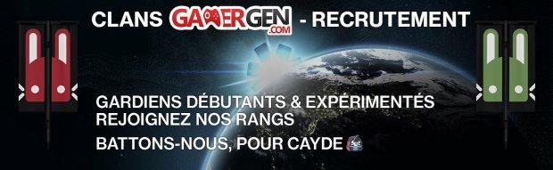 Destiny 2 campagne recrutement joueurs clans GG GAMERGEN