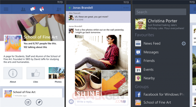 Bande Facebook Windows Phone