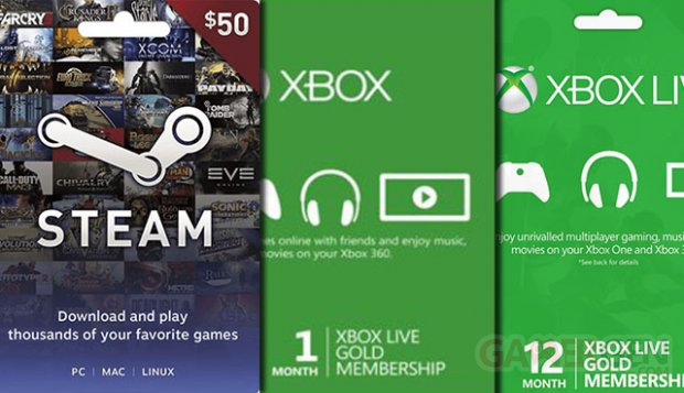 Carte Cadeau Xbox Live Gold.Bon Plan Xbox Live Gold Playstation Network Steam Gift