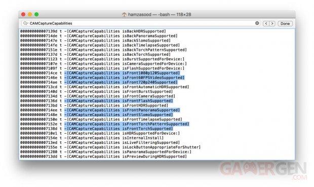 Fuite code iOS 9 appareil photo facade iPhone6s