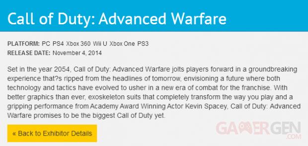call of duty advanced warfare wii u listing e3 2014