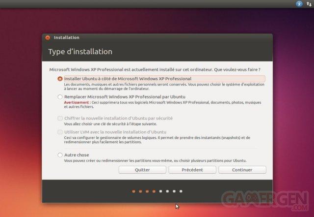 Ecran Type installation