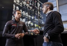 Jann Mardenborough with Andy Damerum of Infiniti Red Bull Racing