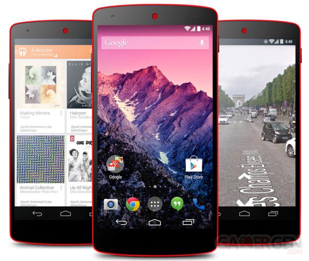 Nexus 5 Red Rouge Vif visuel portrait apps