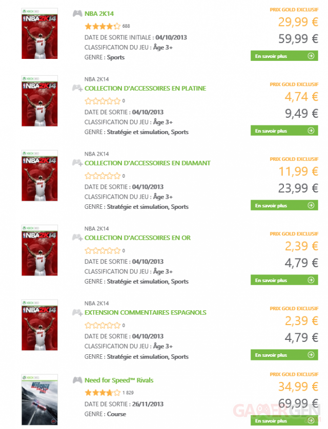 xbox live affaires semaine nba 2k14 need for speed rivals